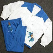 VTG Adidas Women's 2-Piece Windbreaker Track Tennis Suit Sz L Floral Blue White