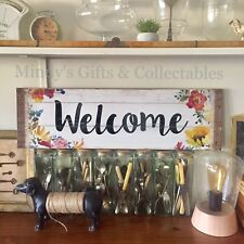 76cm Long Rustic Wooden Welcome Sign Boho Wall Art Wall Hanging Cafe Home
