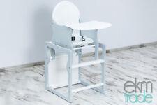 Kinderhochstuhl 2 in 1 Kombi Baby Hochstuhl Stuhl Tisch Holz Grau ekmTRADE