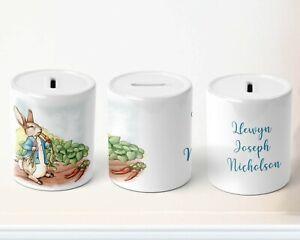 Personalised Piggy Bank | Peter Rabbit theme ceramic Coin Box | HAG9996