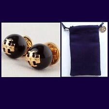 Pearl Stud Earrings W/Tb Pouch-$75-New Authentic Tory Burch 'Evie' Black Crystal