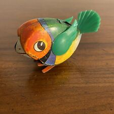 ANTIQUE TIN Baby PARROT BIRD Made in WESTERN GERMANY Wind Up TOY No Key D.B.G.M.