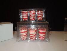 NIB Set 6 Candy Cane Shot Glasses/Candy Cups - Festive Valentine Treat!
