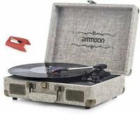 Vinyl Record Player, ammoon 3 Speed Turntable Blue Tooth Player Brown