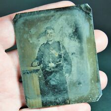 Original American Civil War 1/6 Plate Tintype of Young Union Soldier with Rifle
