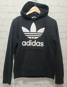 Adidas Youth Trefoil Hoodie Sweatshirt Black White 13/14Y Large,     A67