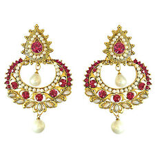 Pink Stone & Shell Pearl & Gold Plated Chand Bali Hanging Earrings PSE12