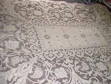 "Vintage Tablecloth Quaker? Lace GC 61x90"" Grapes Vines Crewel Stitch"