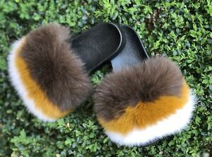 Luxury Fluffy Large Real Fox/Raccoon Fur Women Sandal Shoes Flat Slides Slipper