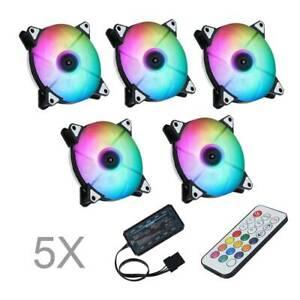 PC Gehäuse Lüfter 120mm RGB Mehrfarbig Doppelring LED Computer Gehäuselüfter DE