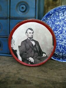 Antique Red Tin Pantry Box w Abraham Lincoln Photo Print
