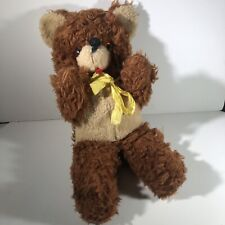 Vintage Bear Large Plush Stuffed Animal Teddy Yellow Bow A&L Novelty Play Land