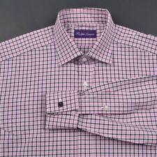 RALPH LAUREN PURPLE LABEL White Pink Check 100% Cotton Luxury Dress Shirt - 15