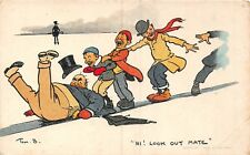 POSTCARD  COMIC  TOM  BROWNE    JOLLY  SKATERS             Hi ! Look out  Mate