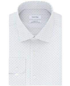 $175 Calvin Klein 15.5 32/33 Mens Regular-Fit White Gray Long-Sleeve Dress Shirt