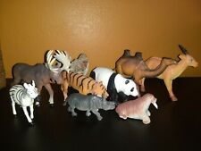 Lot of 9 - Plastic Toy Animals Made In China - Zebra/tiger/Moose More Unbranded