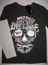 Boys Long Sleeved Green Skull Skeleton T-Shirt sizes 4 to 14 New With Tag