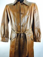 Vintage Leather Trench Coat Brown Jacket Hippie Boho Rock Retro 60s 70s 80s