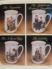 Nib Vintage 1982 Norman Rockwell Collector's Mug Set - 24K Trim - Set of 4