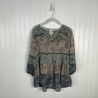 Knox Rose Xs Top Women Sheer Floral Peasant Boho Festival Multicolor 3/4 Sleeve