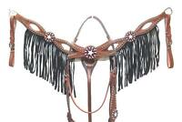 D.A. Brand Beaded Light Oil Double Brow and Breast Collar Set Horse Tack