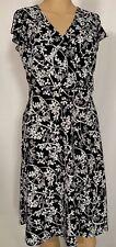 Ann Taylor Loft women's dress 2 petites 2P fit flare black white floral print