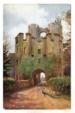Drawbridge - Warwick Castle Art Postcard c1920s