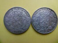 Lot of 2 Belgium silver coins 5 francs 1872 + 1873