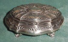 """Antique Sterling Silver 925 Hallmarks Covered Jewelry Casket Box 4.50"""""""