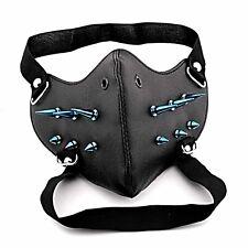 Mens Blue Studded Biker Mask Steampunk Cosplay Masque 50A03