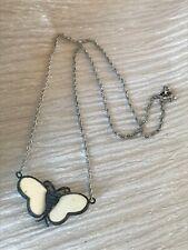 Vintage Silvertone Twist Chain w 85 Marked Silver & Cream Plastic Moth Butterfly