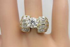 Engagement Wedding Ring 2.73 Ct Tw 14K Yellow Gold 0.73 Center Diamond Wide