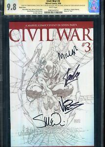 Civil War #3 CGC 9.8 Signed Stan Lee +5 Sketch Cover Marvel Comics 9/06