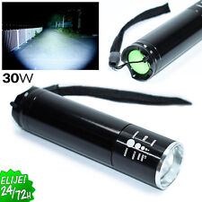 Linterna LED 30W Flashlight con DIMMER Zoom Impermeable Caza Pesca ALTA POTENCIA