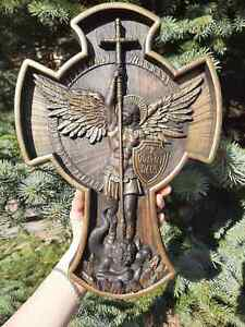 Archangel Michael Cross WOOD CARVED CHRISTIAN ICON RELIGIOUS ART WORK