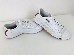 K-SWISS Leather Game Set Match Lace Up Low Cut Trainers Sneakers White Red 5