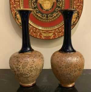 Royal Doulton Slaters Patent Pair of Lovely Tapestry Texture Stoneware Vases