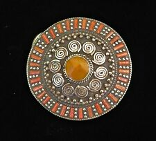 Circle Belt Buckle - Inlaid Coral & Amber Stones in Tibetan Silver