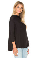 $68 Free People Lovers Rib Thermal Cut Out Back Oversized Pullover S Black