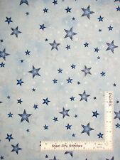 Christmas Silver Stars Blue Cotton Fabric Kaufman Winter Grandeur By The Yard