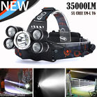 NEW 5X XM-L T6 LED 35000 LM Rechargeable Headlamp Headlight Travel Head Torch