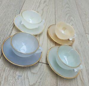 Vintage Arcopal Harlequin Pastel Teaset 4 x cups and saucers