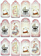 A/4 Scrapbook Paper  Gift & Hang Tags Single Sheet 12 Tags New Born Pink