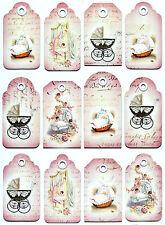 A/4 Scrapbook Paper  Gift & Hang Tags Single Sheet 12 Tags New Born Pink