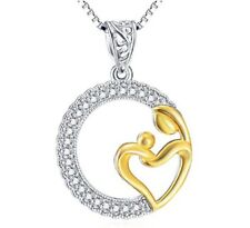 Mother and baby pendant & chain created diamond necklace 18inch gift idea