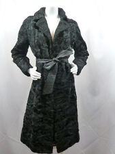 Vintage 60s Hollywood Furrier Black Broadtail Persian Lamb Fur Coat Medium Glam