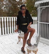 genuine black broadtail lamb & mink trim Fur coat jacket bolero stroller S-M 2-8