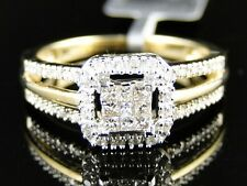 YELLOW GOLD LADIES WOMENS BRIDAL ENGAGEMENT PRINCESS CUT REAL DIAMOND RING SET