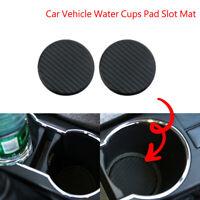 Car Vehicle Water Cups Pad Slot Non-Slip Carbon Fiber Look Mat Accessories set