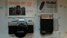 MINOLTA SRT-200 CAMERA MD ROKKOR-X 45MM 1:2 LENS  WITH ROLLEI BETA 4 FLASH